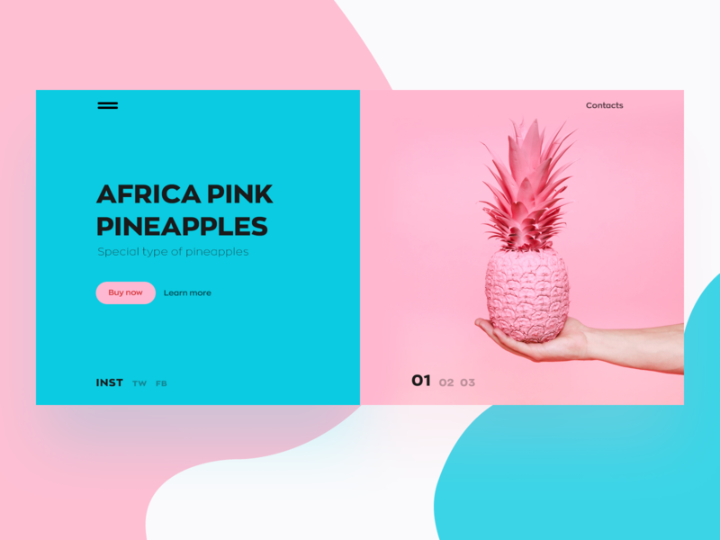 Pink Pineapple web design website illustration branding web ux ui design