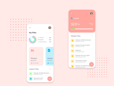 Modern File Manager App UI mockup application ui app ux design 2020 ui trends file management file explorer smooth ui file upload clean ui clean modern file manager