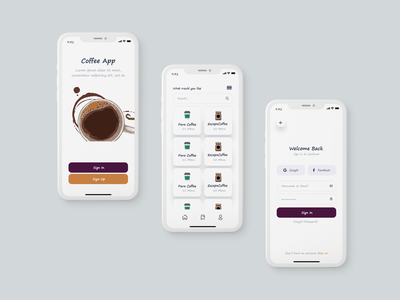 Food App application ui app design concept coffee delivery app food application light ui clean ui neat ui clean and modern food and drink food app ui coffee app food app ui design