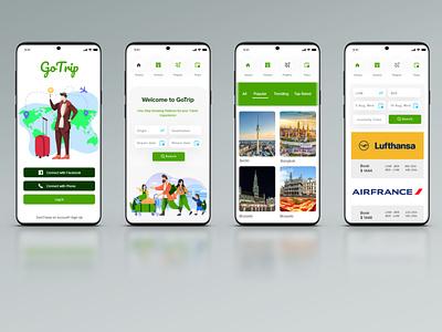 Travel App UI uiux vacation travel app tour trip onlinebooking hotel travel clean ui illustration application ux ui app design