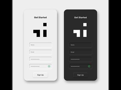 Daily UI 001 - Sign Up neumorphism logo appdesign app ux design design icon branding black  white ios signup screen ui design uxui neuromorphic daily ui