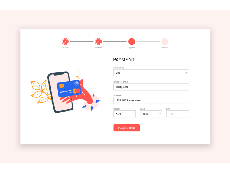 Daily UI 002 - Card Checkout illustraion ux design ui design uxui web design checkout page daily ui
