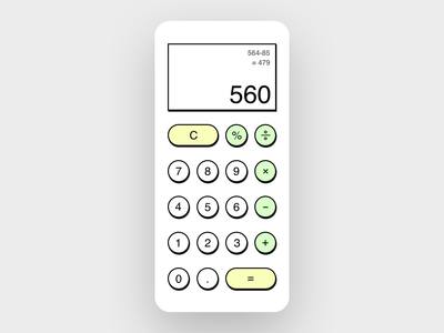 Daily UI 004 - Calculator calculator design simple shadows dailyui dailyui004 calculator ui calculator ui icon design black  white appdesign app uxui ux design ui design daily ui
