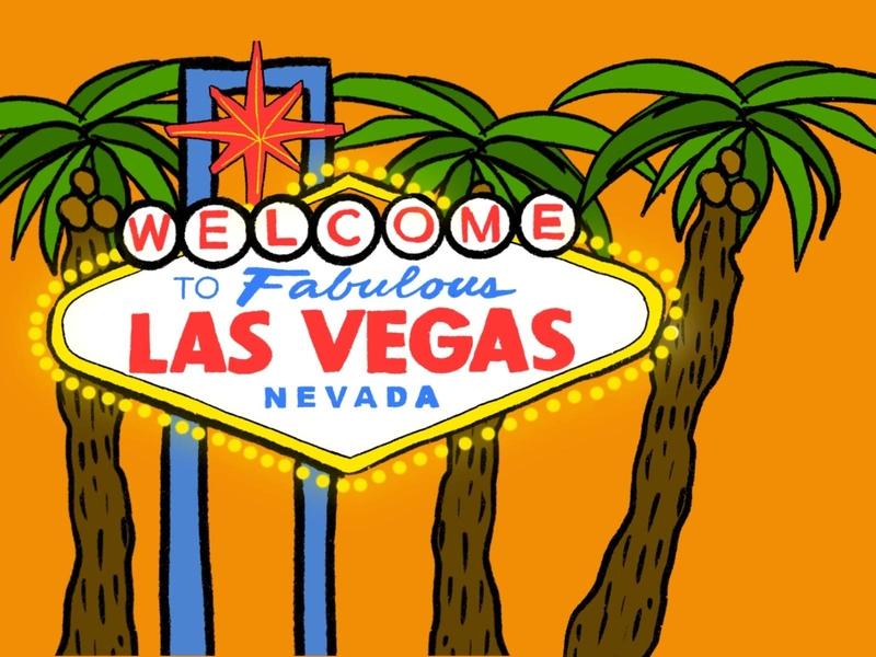 Vegas Post Card postcard design palmtree marque nevada vegas postcards mail postcard cartooning cartoon illustration