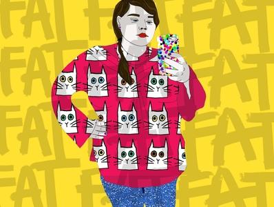 Just FAT society selfcare fat patterns cartooning cartoon illustration
