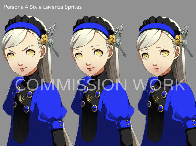 Persona 4 Style Lavenza Sprites fan art digital art character design sprites