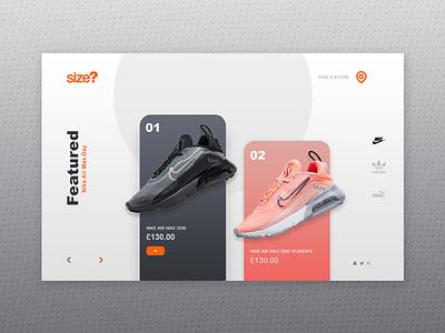 Landing Page - Size? website design ui colour nike branding ux