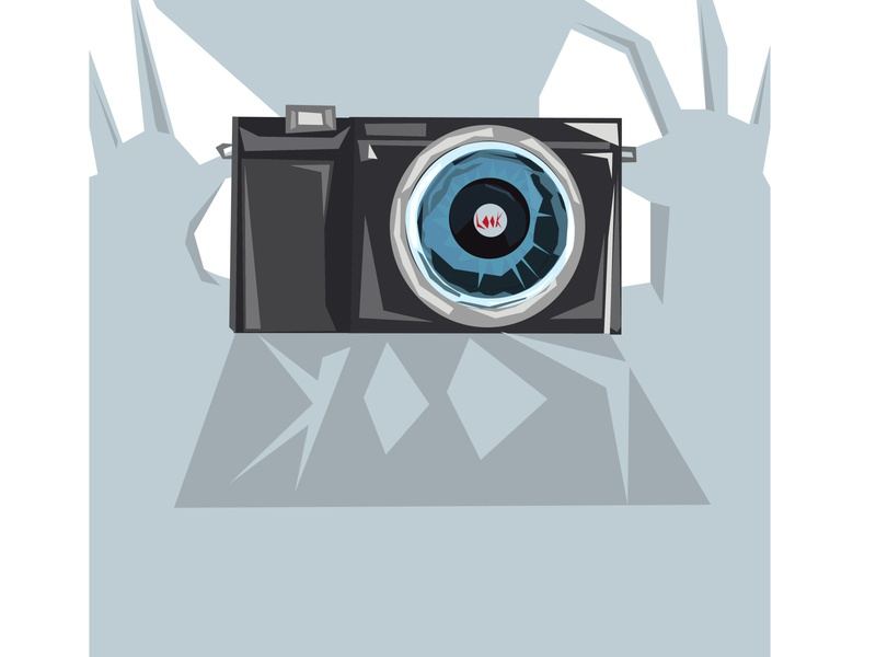 Stylized image of thea camera in hands icon hobbies hand drawn graphic frame foto flash film fashion equipment element drawn drawing digital design decoration camera black background art