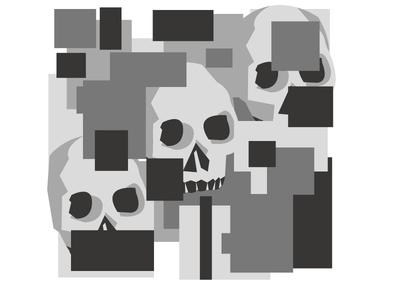 A minimalistic image of a skull on a grey background decoration illustration creative element black decorative background concept design art