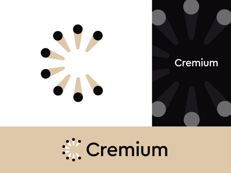 Cremium Logo Desig #2 letter c modern logo luxury design sophisticated logo gold woodcut wooden wood firewood shine circles circle brand logo design symbol branding identity icon mark logo