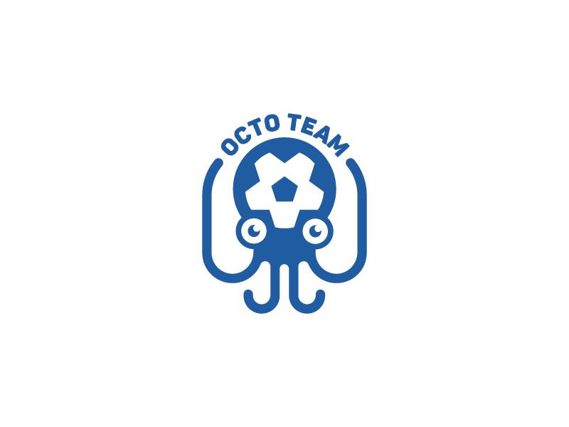 Octopus Soccer Logo  icon mascot character football soccer blue identity brand flat animal mark logo