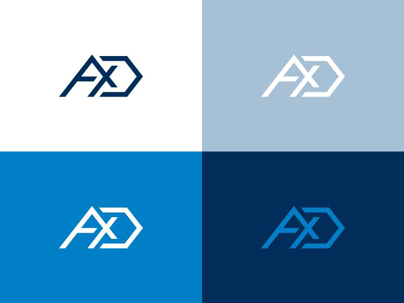 AXD Tech Monogram minimalistic clean technology tech letters letter palette monogram colors icon mark logo