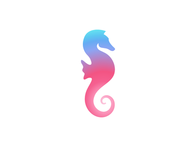 Seahorse Logo logo design wellness spa travel seahorse rainbow logo illustration identity icon gradient branding