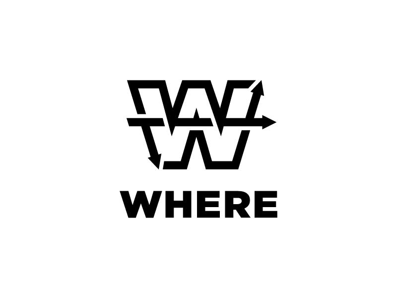 Where Logo Mark logo design letter mark black and white brand direction w arrows arrow identity icon mark logo