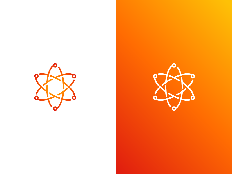 Futuristic Atom Logo symbol red orange colorful abstract mark logo identity tech branding technology atom