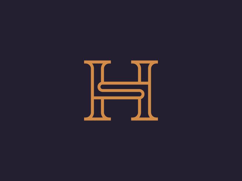 Luxury HS monogram line art identity branding monogram logos logo mark letter hs elegant design colorful luxury
