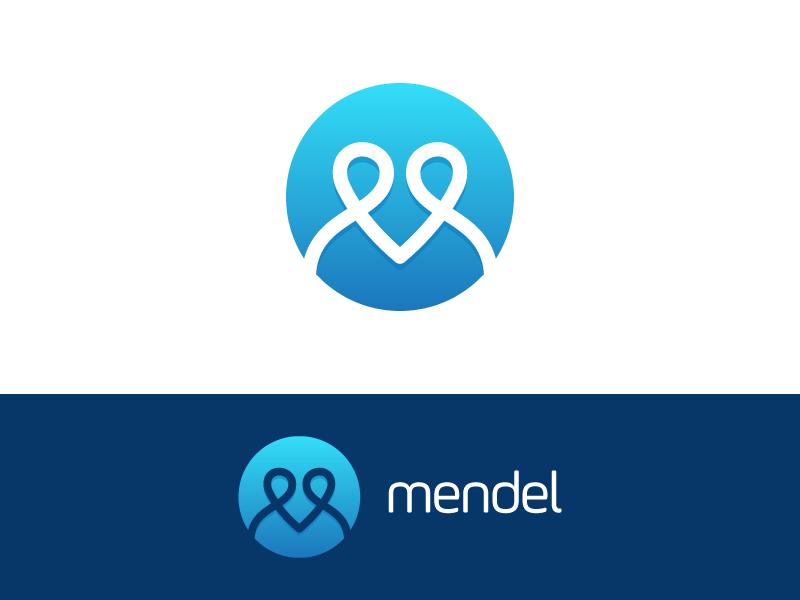 M + Heart Logo concept for medical app medical app simple modern organic blue lettering software platform m heart medical logo