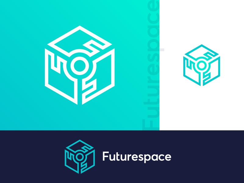 Futurespace Logo - VR AR crypto platform branding brand identity techno 3d cube virtual reality technology tech software logo design logo futuristic future f monogram digital currency coin
