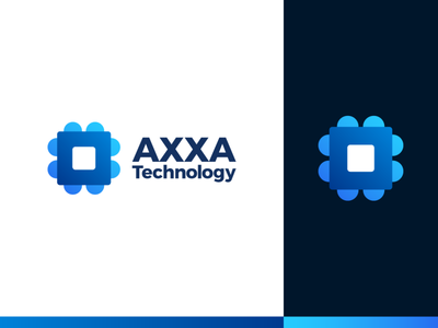 AXXA Technology Logo Design visual identity brandbook digital inovation automatic industry gradient color blue clever smart creative computer chip modern startup branding design logo mark symbol icon tech logo electric motors industrial automation futuristic technology abstract logo