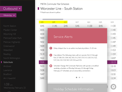 MBTA Commuter Rail Schedule Design minimal clean ui ux user interface user experience app mbta schedule typography commuter rail grid