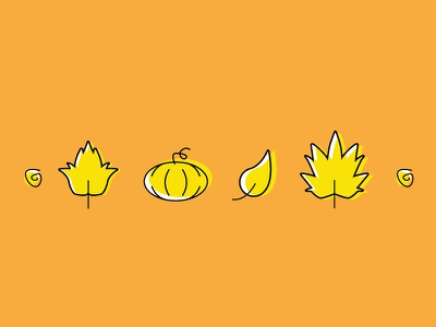 Basic Fall Things offset illustrator vector leaf pumpkin fall icon