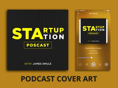 Podcast Cover - Startup Station podcast app spotify airbnb itunes social media design typography podcast logo podcast cover art podcast branding