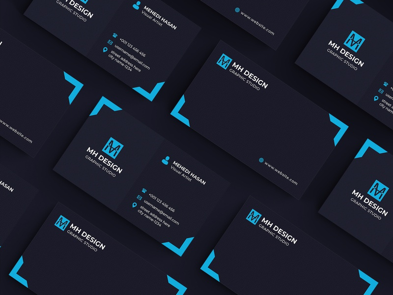 Business Card Template professional business card corporate identity brand business card template blue agency branding company branding stationary brand identity business card branding