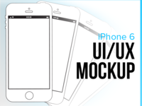 UI/ UX iPhone 6 Mockup - 4 Up