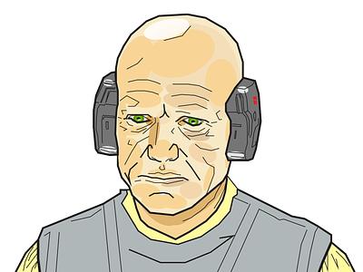 Obscure Star Wars Characters - Lobot - Alt Color Scheme design characters illustration star wars lobot