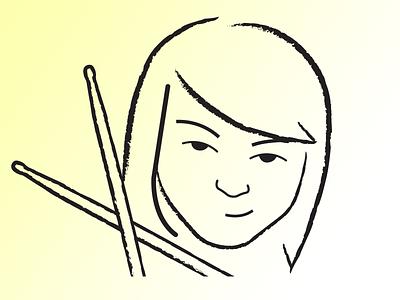 Little Drummer Girl illustration drummer person woman drum sticks face portrait logo