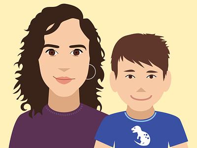 Mel + Oli faces latina son child moth illustrated portrait