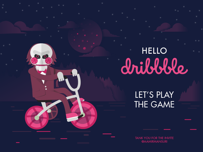Hello Dribbble! first shot puppet tricycle debut billy saw play the game hello