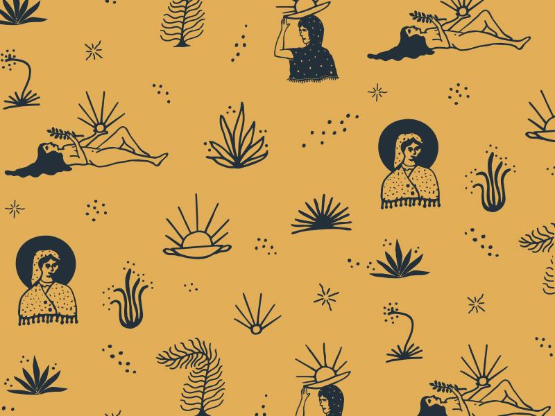 Pattern - The secret waters. woman pattern design apparel illustration
