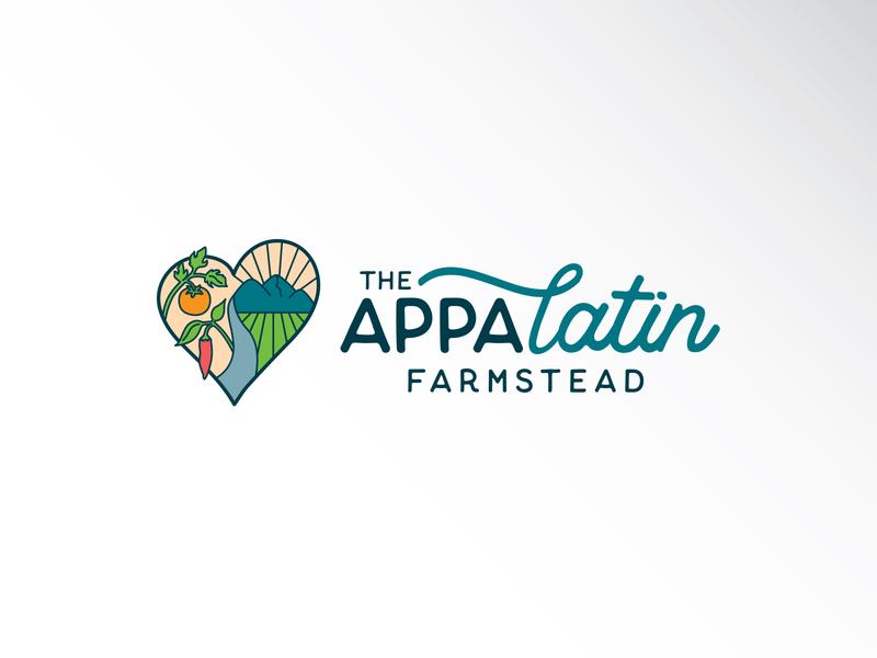 The AppaLatin Farmstead north carolina pepper tomato mountain farming farm heart logo design logo