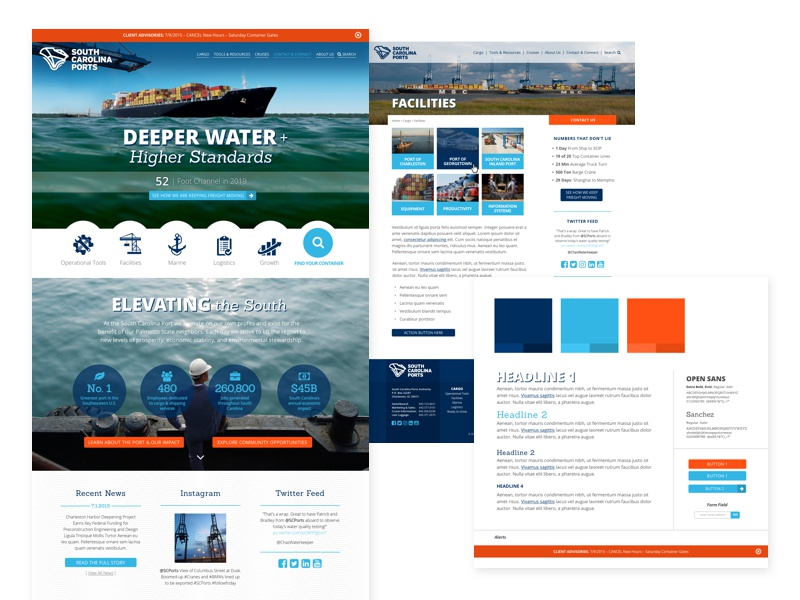 South Carolina Ports Authority alerts style guide responsive website web