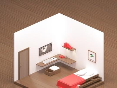 Isometric Bedroom design 3d isometric design bedroom design 3d art isometric blender3d