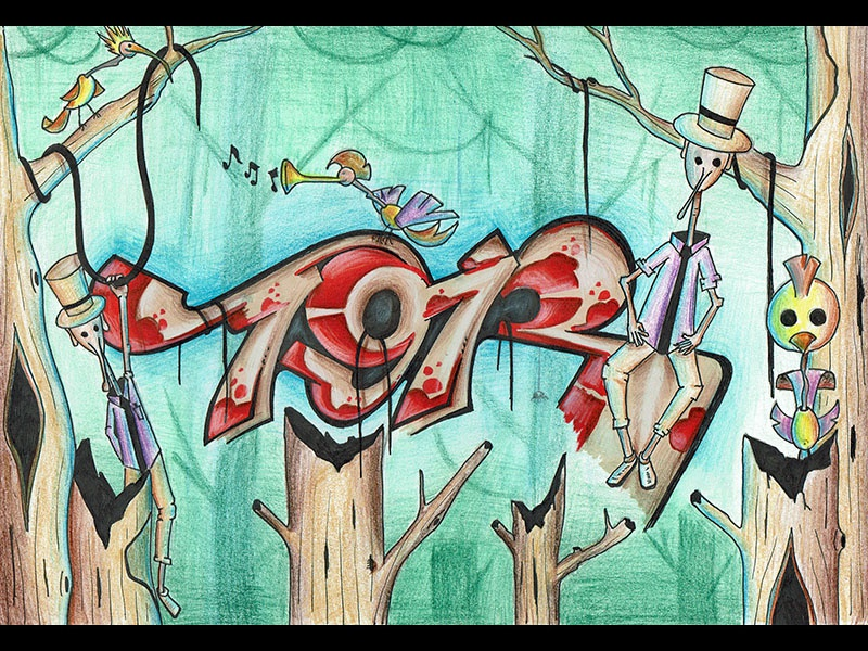 In the jungle marker sketch color streetstyle fantasy numbers lettering drawing handdrawing streetart graffiti illustration