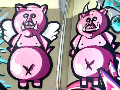 Pig Style spraycanart spray piece aerosolart streetart graffiti pig puppet