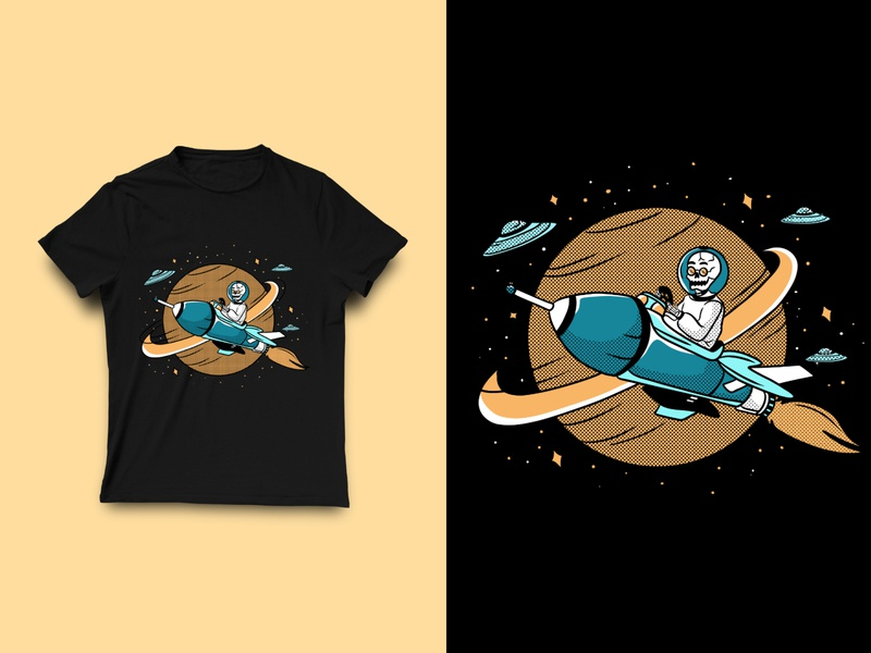 Skull Astronout T-shirt design art skulls tshirt skull art skull illustration apparel