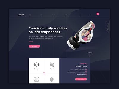 Expice Headphone | Website Design Concept ecommerce web uiux minimal flat