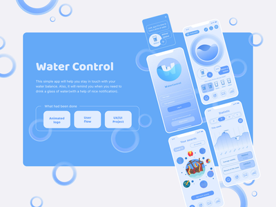 Water Control App creative illustration clean design modern ios mobile apps android app