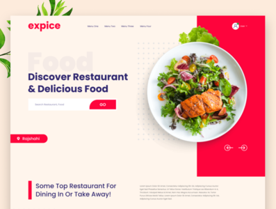 Expice Restaurant Landing Page colorful cooking blog creative chef restaurant uiuxdesign design ecommerce clean design modern