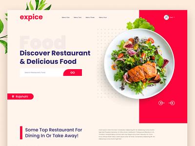Expice Restaurant Landing Page colorful cooking blog creative chef restaurant uiuxdesign design ecommerce clean design modern