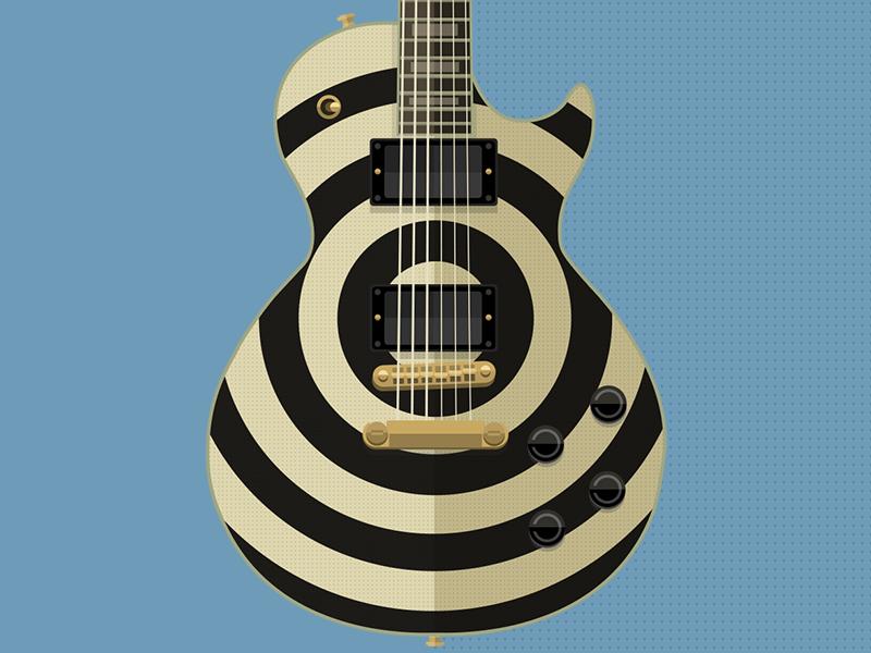 Gibson Les Paul Bullseye Zakk Wylde guitar illustration flat music photoshop vector gibson zakk wylde bullseye