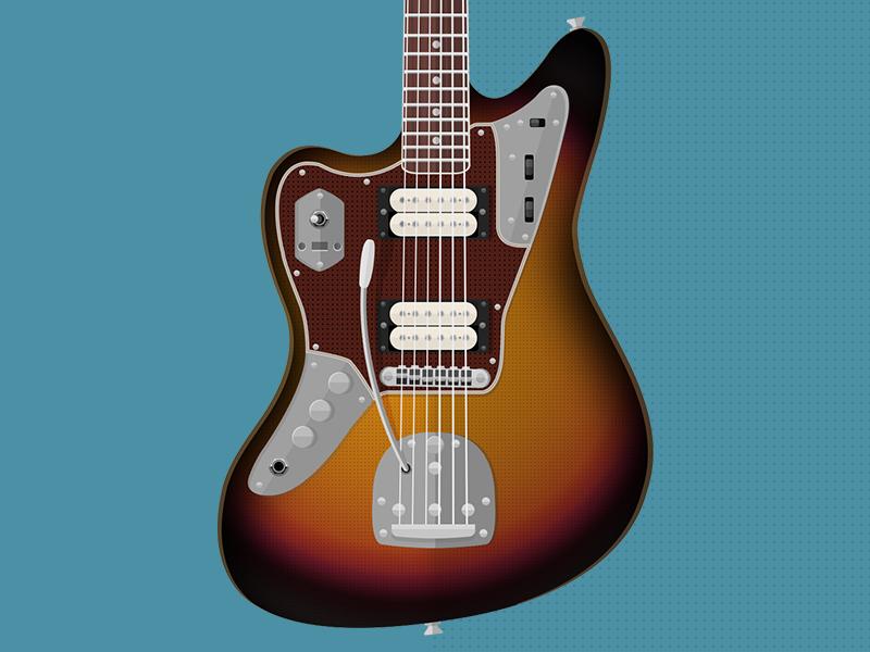 Fender Jaguar Kurt Cobain flat guitars fender jaguar kurt cobain vector