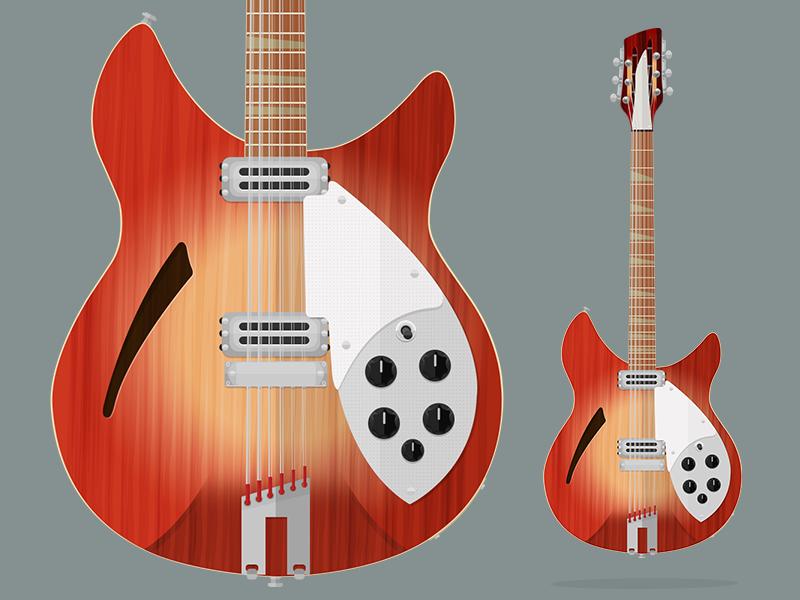 Rickenbacker 360/12C63 Flatguitar guitar vector flat music illustration george harrison beatles rickenbacker