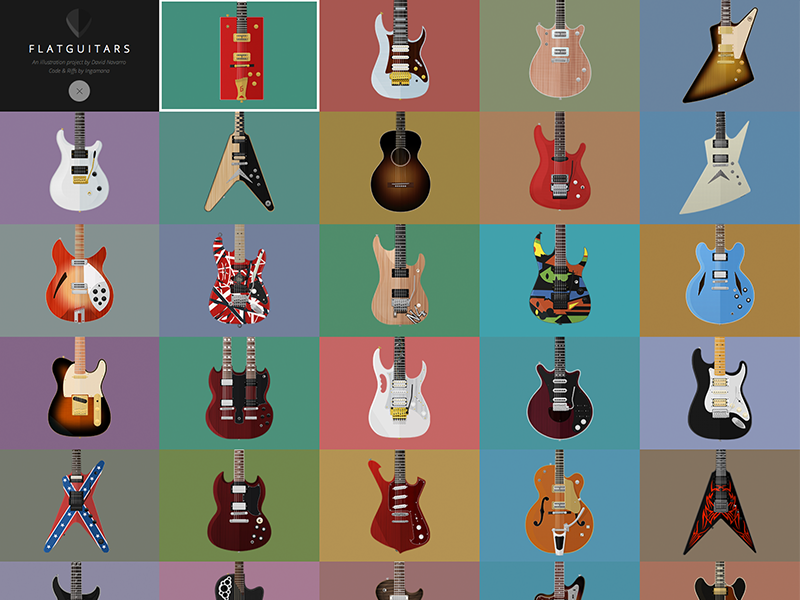 FlatGuitars.com Update flat guitar flat design illustration web design gibson fender prs ibanez gretsch washburn
