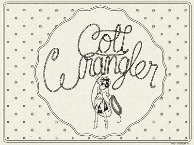 Coltwrangler hand lettering pin up illustration lettering rope cowboy cowgirl pinup bandana