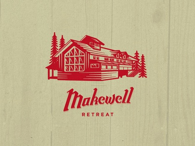 Makewell Retreat hand lettering red vector lettering fun camping woods retreat house illustration cabin