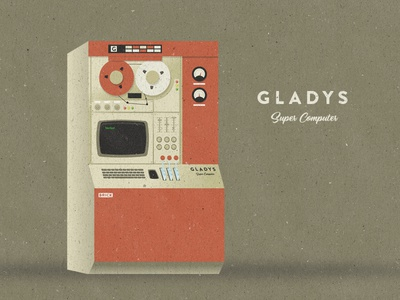 GLADYS super computer calculator technology powerful 1960s vintage illustrator illustration computer